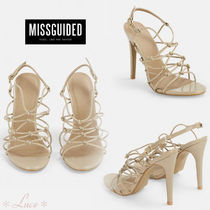 Missguided Open Toe Faux Fur Pin Heels Elegant Style Heeled Sandals