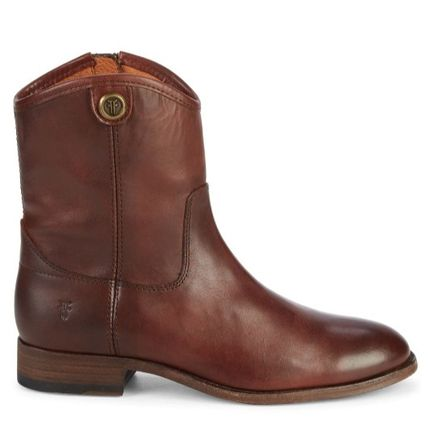 Round Toe Plain Leather Flat Boots