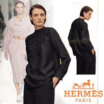 HERMES Silk Long Sleeves Plain Elegant Style Shirts & Blouses