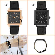 Larsson&Jennings Unisex Leather Square Quartz Watches Elegant Style
