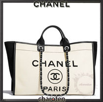 CHANEL DEAUVILLE Unisex Calfskin A4 3WAY Bi-color Chain Plain Leather Totes