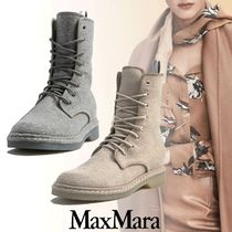 MaxMara Rubber Sole Lace-up Casual Style Lace-up Boots