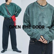 OPEN THE DOOR Stripes Long Sleeves Plain Cotton Oversized