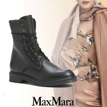 MaxMara Rubber Sole Lace-up Casual Style Leather Elegant Style