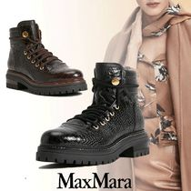 MaxMara Rubber Sole Lace-up Casual Style Elegant Style Lace-up Boots