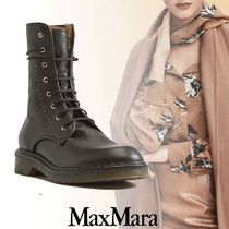 MaxMara Rubber Sole Lace-up Casual Style Leather Lace-up Boots