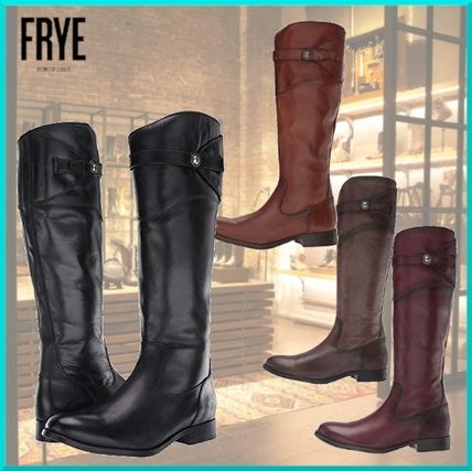 Round Toe Casual Style Plain Leather Flat Boots