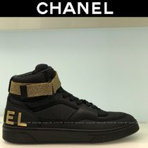 CHANEL Blended Fabrics Bi-color Plain Leather Sneakers