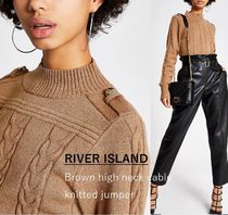 River Island Cable Knit Casual Style Long Sleeves Plain Medium High-Neck