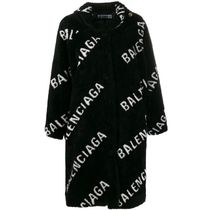 BALENCIAGA Faux Fur Long Cashmere & Fur Coats
