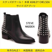 Steve Madden Casual Style Studded Plain Leather Chelsea Boots