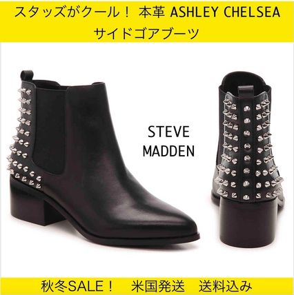 Casual Style Studded Plain Leather Chelsea Boots
