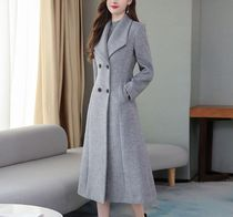 Plain Medium Midi Elegant Style Front Button Chester Coats