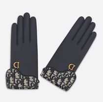 Christian Dior DIOR OBLIQUE Blended Fabrics Leather Logo Leather & Faux Leather Gloves