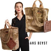 SANS BEAST Casual Style Plain Other Animal Patterns Elegant Style Totes