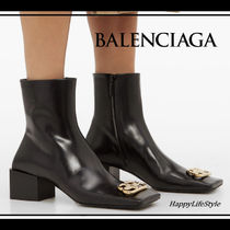 BALENCIAGA Monogram Square Toe Casual Style Bi-color Plain Leather