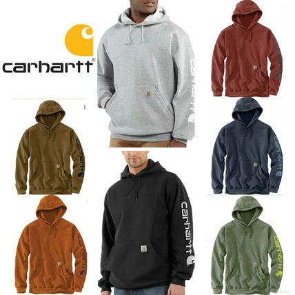 Pullovers Unisex Long Sleeves Plain Logos on the Sleeves