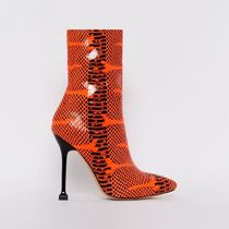 SIMMI Casual Style Street Style Pin Heels Python Sock Boots