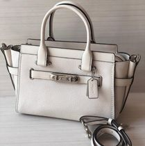 Coach SWAGGER 2WAY Plain Leather Elegant Style Handbags