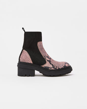 bimba & lola Ankle & Booties Rubber Sole Blended Fabrics Plain Leather Block Heels Python 6