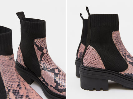 bimba & lola Ankle & Booties Rubber Sole Blended Fabrics Plain Leather Block Heels Python 8