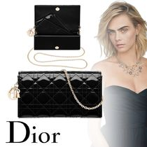 Christian Dior LADY DIOR Calfskin 2WAY Chain Plain Party Style Elegant Style Clutches