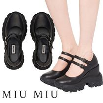 MiuMiu Round Toe Casual Style Plain Leather Wedge Pumps & Mules