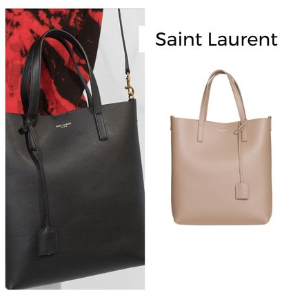 Casual Style Unisex Calfskin Street Style 2WAY Plain Totes