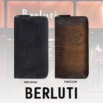 Berluti Calfskin Leather Long Wallet  Logo Long Wallets