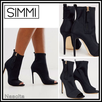 Open Toe Casual Style Plain Pin Heels High Heel Boots