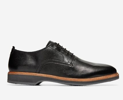 Plain Toe Street Style Plain Leather Logo Oxfords