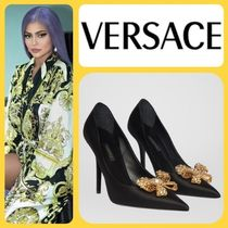 VERSACE Leather Pin Heels Pointed Toe Pumps & Mules