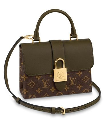 Monogram 2WAY Leather Elegant Style Shoulder Bags