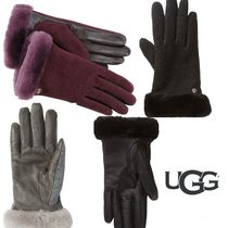UGG Australia Bi-color Plain Leather Leather & Faux Leather Gloves