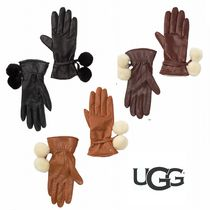 UGG Australia Wool Plain Leather Leather & Faux Leather Gloves