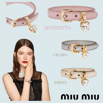 Casual Style Leather With Jewels Bracelets