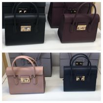 FURLA Casual Style 2WAY Plain Leather Party Style Formal Style