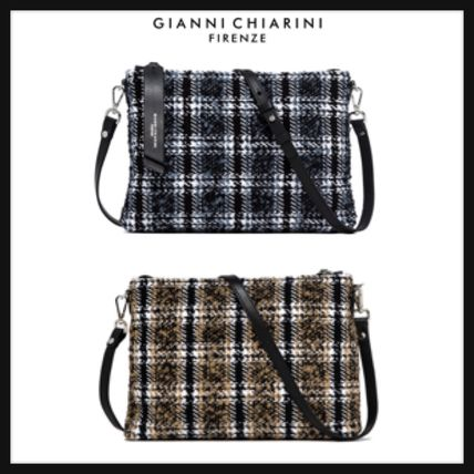 Tartan 2WAY Leather Crossbody Shoulder Bags