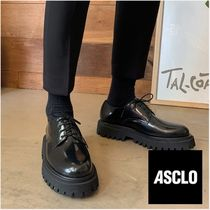 ASCLO Plain Toe Street Style Plain Leather Oxfords