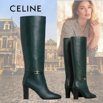CELINE Triomphe Plain Toe Casual Style Plain Leather Elegant Style