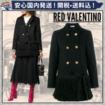 RED VALENTINO Wool Blended Fabrics Plain Fringes Peacoats