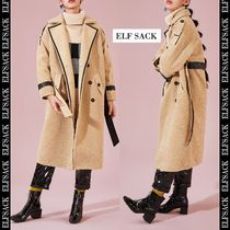 ELF SACK Stand Collar Coats Unisex Suede Faux Fur Blended Fabrics