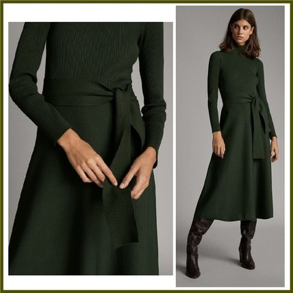 Flared Long Sleeves Plain Medium Elegant Style Dresses