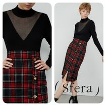 Sfera Other Check Patterns Medium Elegant Style Midi Skirts
