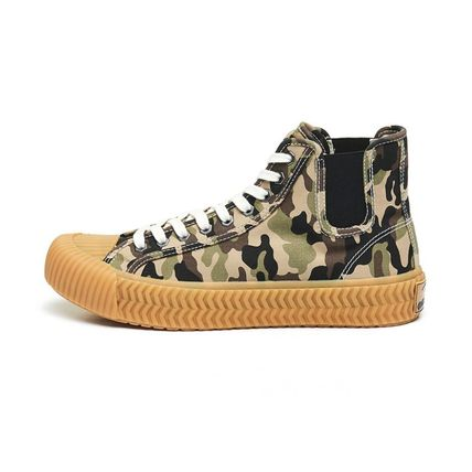 Camouflage Unisex Street Style Logo Sneakers