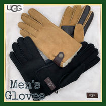 UGG Australia Wool Suede Blended Fabrics Plain Touchscreen Gloves