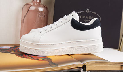 PRADA Low-Top Casual Style Unisex Plain Leather Low-Top Sneakers 10
