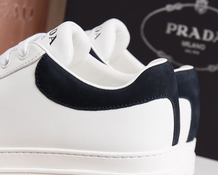PRADA Low-Top Casual Style Unisex Plain Leather Low-Top Sneakers 11