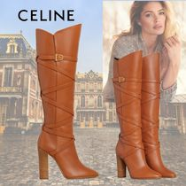 CELINE Plain Toe Casual Style Plain Leather Elegant Style