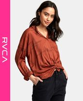 RVCA Stripes Casual Style Long Sleeves Shirts & Blouses